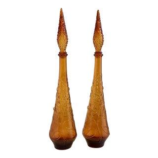 Italian Empoli Amber Glass Genie Bottles - A Pair