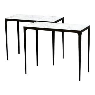 "Contemporary Design Frères ""Esquisse"" Wrought Iron and Marble Side Tables - a Pair For Sale"