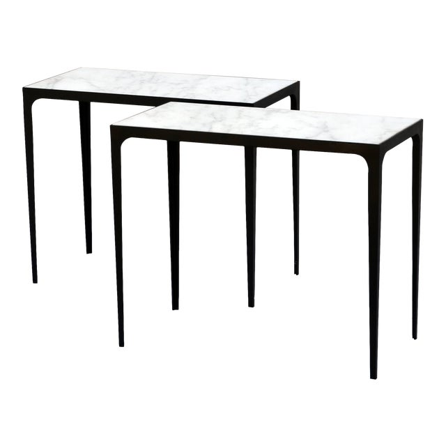"""Contemporary Design Frères """"Esquisse"""" Wrought Iron and Marble Side Tables - a Pair For Sale"""
