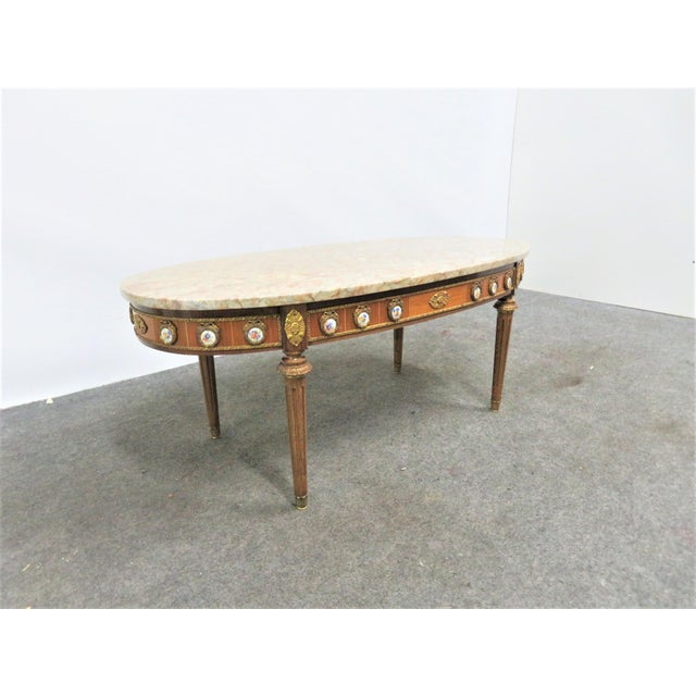 Brown Louis XVI Ormolu Porcelain Mounted Marble Top Coffee Table For Sale - Image 8 of 10