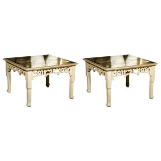 Distressed Mirror Glass Top Squared Asian Style End Tables Stamped Jansen, Pair