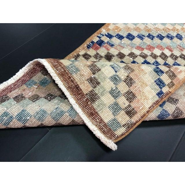 Vintage Geometric Design Turkish Anatolian Wool Runner For Sale - Image 10 of 11