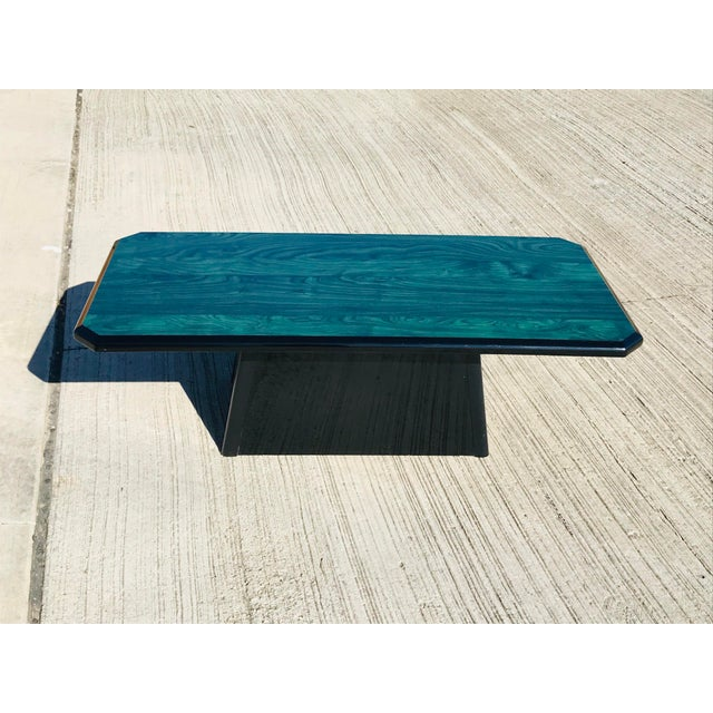 Hollywood Regency 1980s Vintage Wood Coffee Table Malachite Finish For Sale - Image 3 of 12