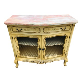 Mid Century Hand Painted Marble Topped French Style Commode For Sale