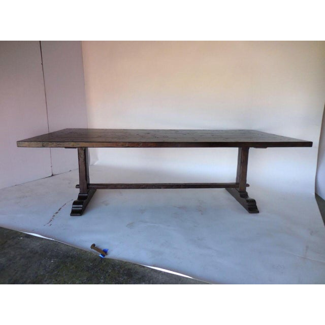 """Custom table with simple straight leg trestle in walnut with a 2"""" built up thick top. Can be made in any size, in a..."""