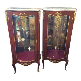 Pair Louis XV Style Display Cabinets For Sale