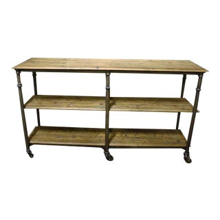 Industrial Style Distressed Wood & Steel Sideboard