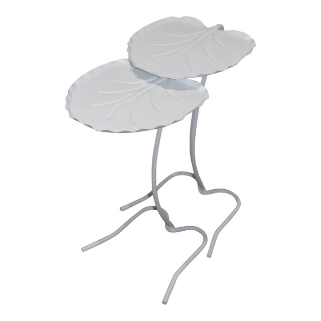 Salterini Nesting Lily Pad Drinks Tables Indoor Outdoor Patio - a Pair For Sale
