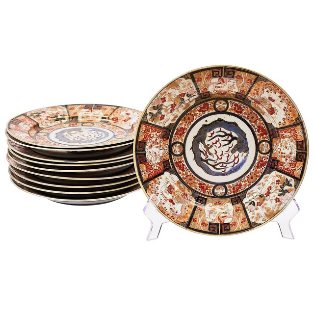 19th Century French Imari Style Plates - Set of 10 For Sale