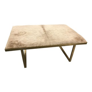 Contemporary Cowhide Metal Coffee Table For Sale