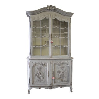 19th Century Two-Part Painted French Oak Cabinet For Sale