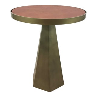 Worlds Away Modern Geometric Antique Brass Finished Woodrow Accent Table For Sale