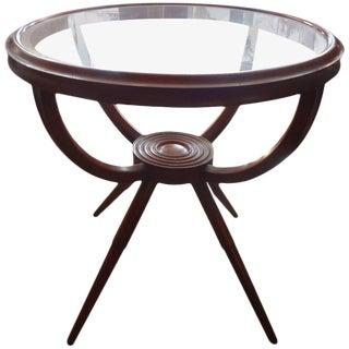 1950's Mid-Century Modern Fruitwood Gueridon Table For Sale