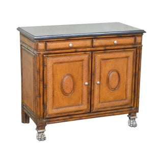 Thomasville Ernest Hemingway Collection Rattan Marble Top Claw Foot Console Cabinet