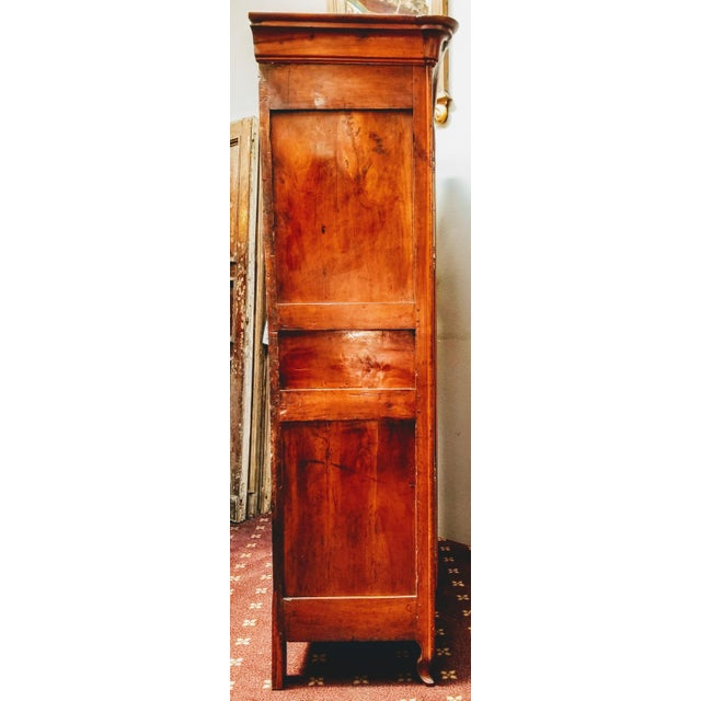18th Century Louis XV French Armoire De Mariage With Carved Flower Accents Cherry Wood For Sale - Image 11 of 13