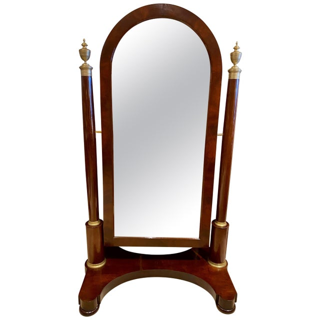 French Restauration Mahogany and Bronze Mounted Cheval Mirror For Sale - Image 13 of 13