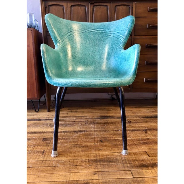 Green Vintage Mid Century Lawrence Peabody Fiberglass Wingback Armchair in Green 1960s For Sale - Image 8 of 8