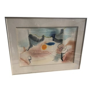 1970s Vintage Frances DesLoge Abstract Watercolor Painting For Sale