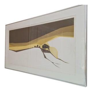Vintage Original Buffalo Framed Lithograph For Sale