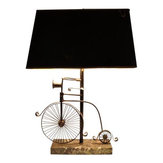 1950s Vintage Bicycle Lamp and Shade - 2 Pieces