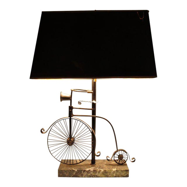 1950s Vintage Bicycle Lamp and Shade - 2 Pieces For Sale
