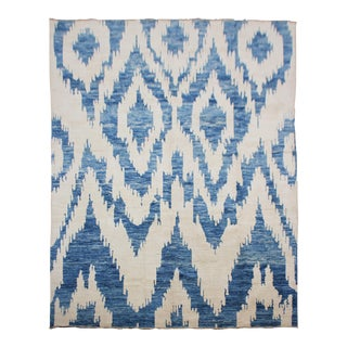 "Hand Knotted Ikat Blue & White Wool Rug by Aara Rugs Inc. - 7'5"" X 9'10"" For Sale"