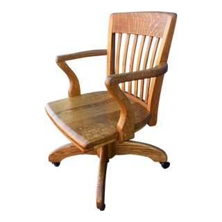 1950s Empire Oak Spring-Tensioned Tilt Rolling Bankers Chair For Sale