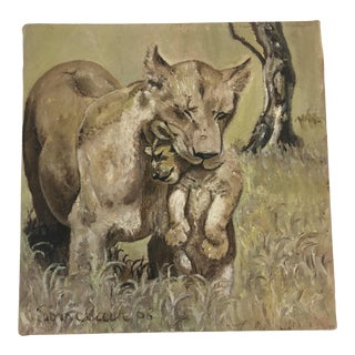 Vintage Lion Oil on Canvas Painting For Sale