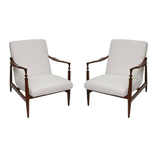 1960s Italian Walnut and Silk Lounge Chairs - a Pair For Sale