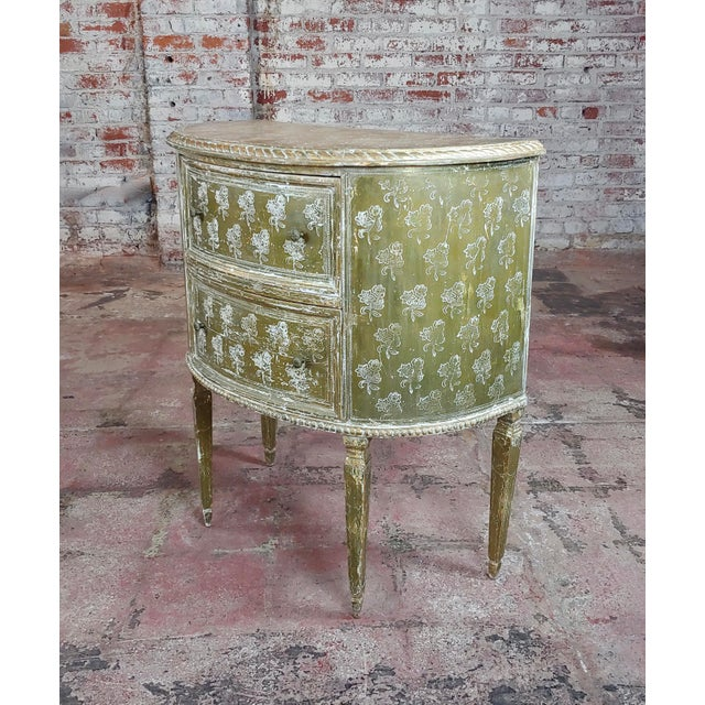 Antique Italian Florentine Demilune Gilt-Wood Commodes - A Pair For Sale - Image 4 of 10