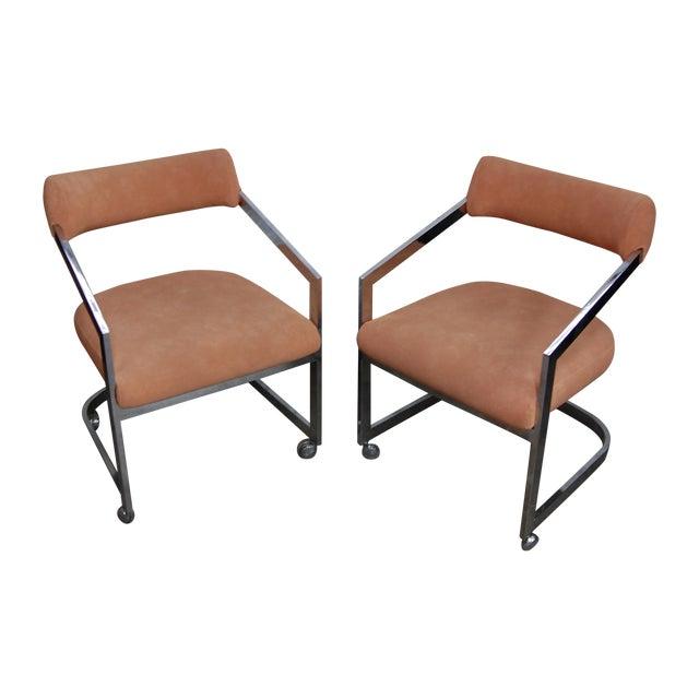Peach Blush Dia Chrome Modernist Chairs - Pair - Image 1 of 11