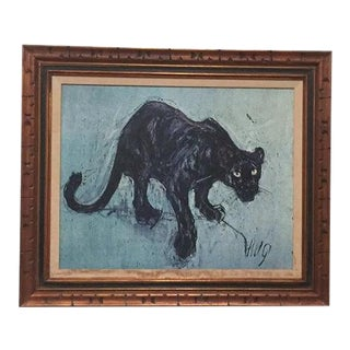 Vintage Fritz Hug Jaguar Print Lithograph on Canvas, Framed For Sale