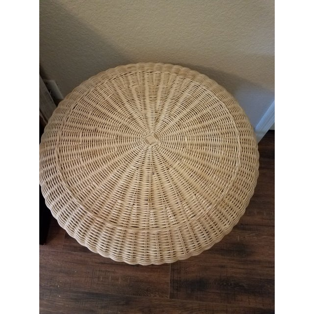 Asian Vintage Asian Handcrafted Woven Rattan/Wicker Accent Table For Sale - Image 3 of 7