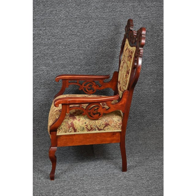 Antique Old World Ornately Carved Shield Back Arm Chair Burgundy Floral Tapestry For Sale - Image 4 of 13