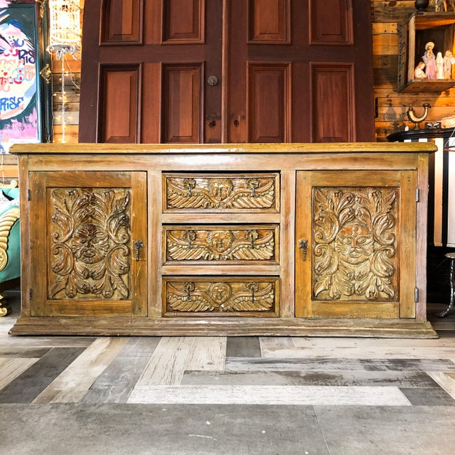 Antique Mexican Hand Carved Wood Sideboard With Cherubs and Green Man Motif For Sale - Image 11 of 11