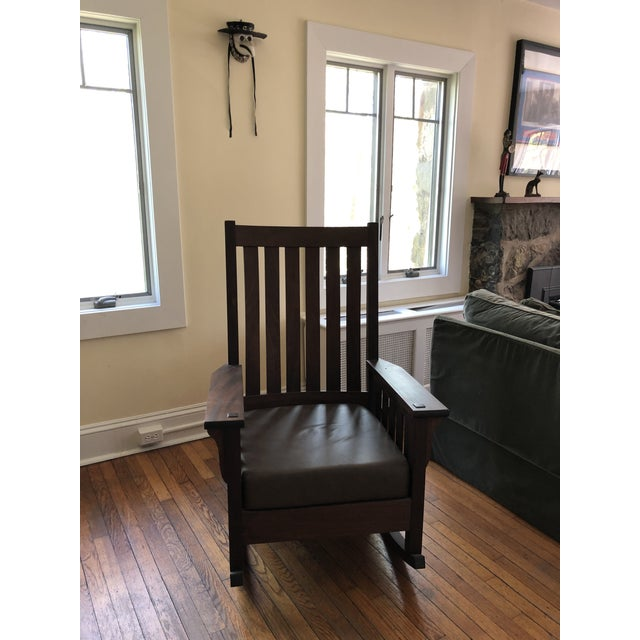 """A handmade, especially for us, Mission style rocking chair made without any nails, screws or metal.. 47"""" from mid-back to..."""