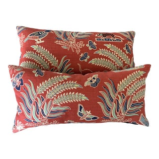 Quadrille Red Batik Mini Lumbar Pillows - a Pair For Sale