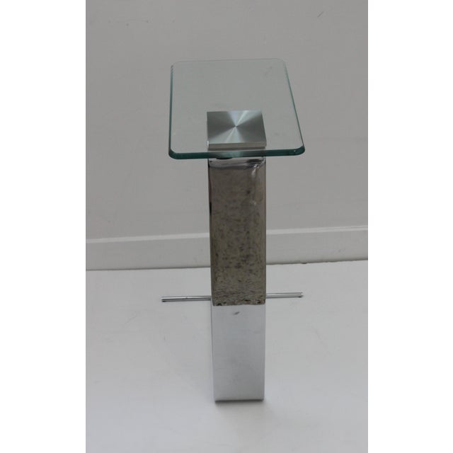 Side Table Satin Steel Polished Steel Glass in Style of Dia For Sale - Image 9 of 13