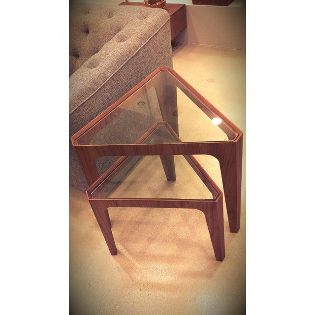 Walnut Triangular Nesting Side Tables - Image 2 of 2