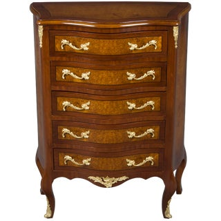 Empire Style Serpentine Tall Chest of Drawers Dresser For Sale