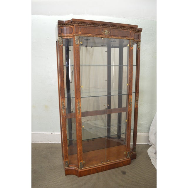Henredon Grand Provenance French Louis XV Style Burl Wood Curio Display Cabinet For Sale - Image 11 of 12