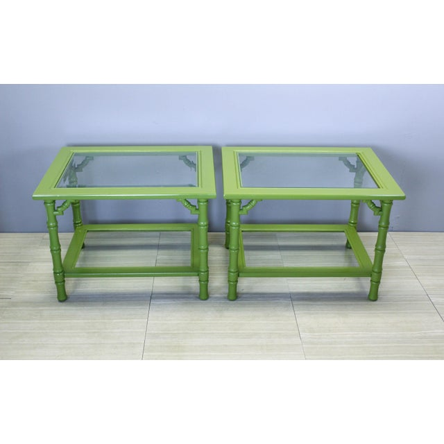 Mid-Century Modern Green Lacquered Side Tables - A Pair For Sale - Image 3 of 9