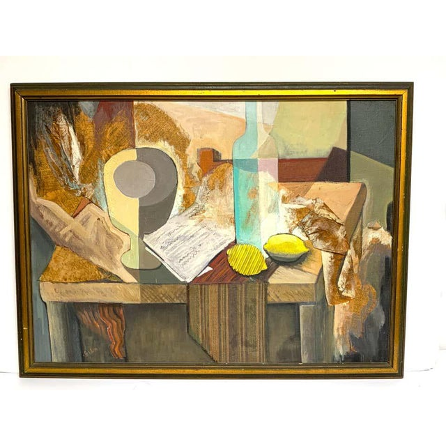 Mid-Century Modern Mid-Century Mixed-Media Cubist Still Life Oil on Canvas For Sale - Image 3 of 11