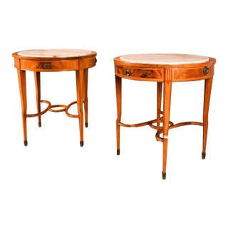 19th Century French Louis XVI Marble Top Sides Tables Pair For Sale