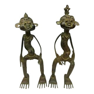 1980s Vintage African Bronze Statues - A Pair For Sale