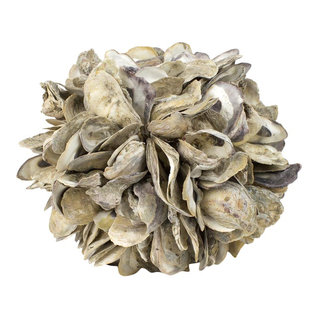 Large Natural Oyster Shell Sphere Sculpture For Sale