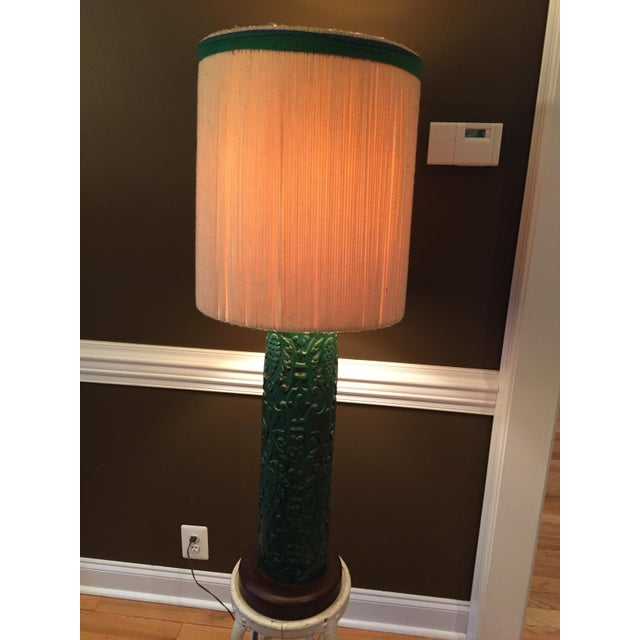 Monumental Table Lamp with Carved Detail - Image 4 of 8