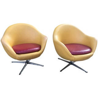 Overman Swivel Chairs - a Pair For Sale