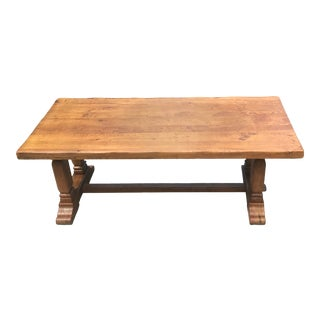 Vintage French Country Trestle Farm Dining Table For Sale