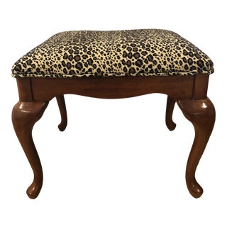 Vintage American Drew Bench with Leopard Upholstery For Sale